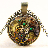 Halloween steam punk time gem round glass pendant chain necklace