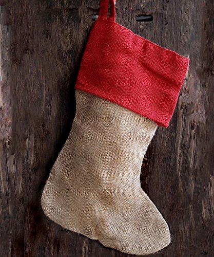 "AK-Trading Burlap Jute Holidays Christmas Stockings - Pack of 6 - Natural Jute Stocking with Red Cuff, 8"" x 17""H x 12"" foot"