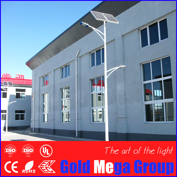High and low LED light on double arm solar street lighting system