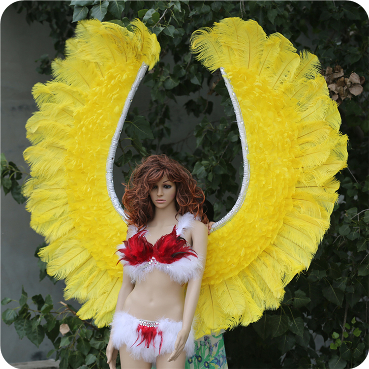 Party supplies Yellow stage decorative feather angle wing costume