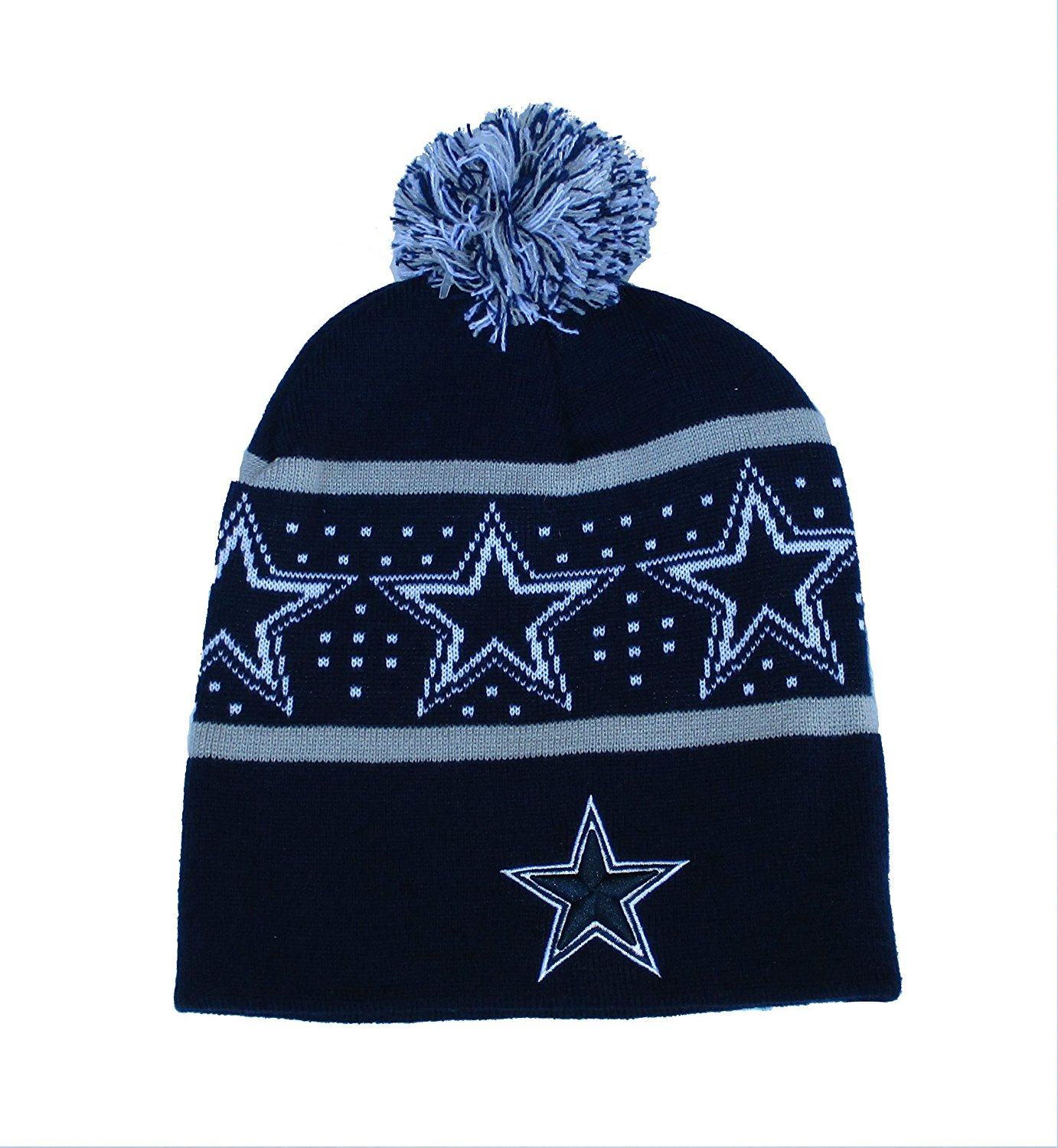 847725132 Get Quotations · Dallas Cowboys Knit 2 Tone Cuffless Beanie One Size Hat Cap  - Navy & Grey