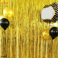 FENGRISE 1mx2m Gold Tinsel String Foil Fringe Curtain Shiny Shimmer Party Wedding Birthday Door Decoration Photo Booth Backdrop