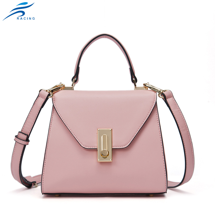 Pink metal lock small size leather saddle bag for promotional