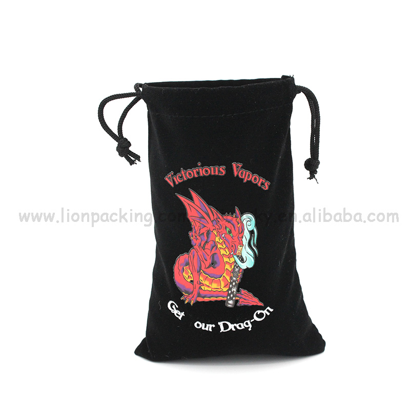 Dragon printed cool glasses velvet bag with drawstring