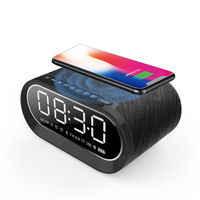 New arrive 2*6W Fabric wireless charger mini bluetooth speaker with alarm clock and FM radio