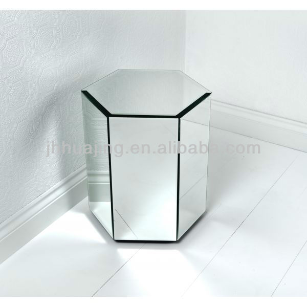Small Hexagon Bevelled Plain Mirrored Pedestal Stand Flower Home Decor Furnitures