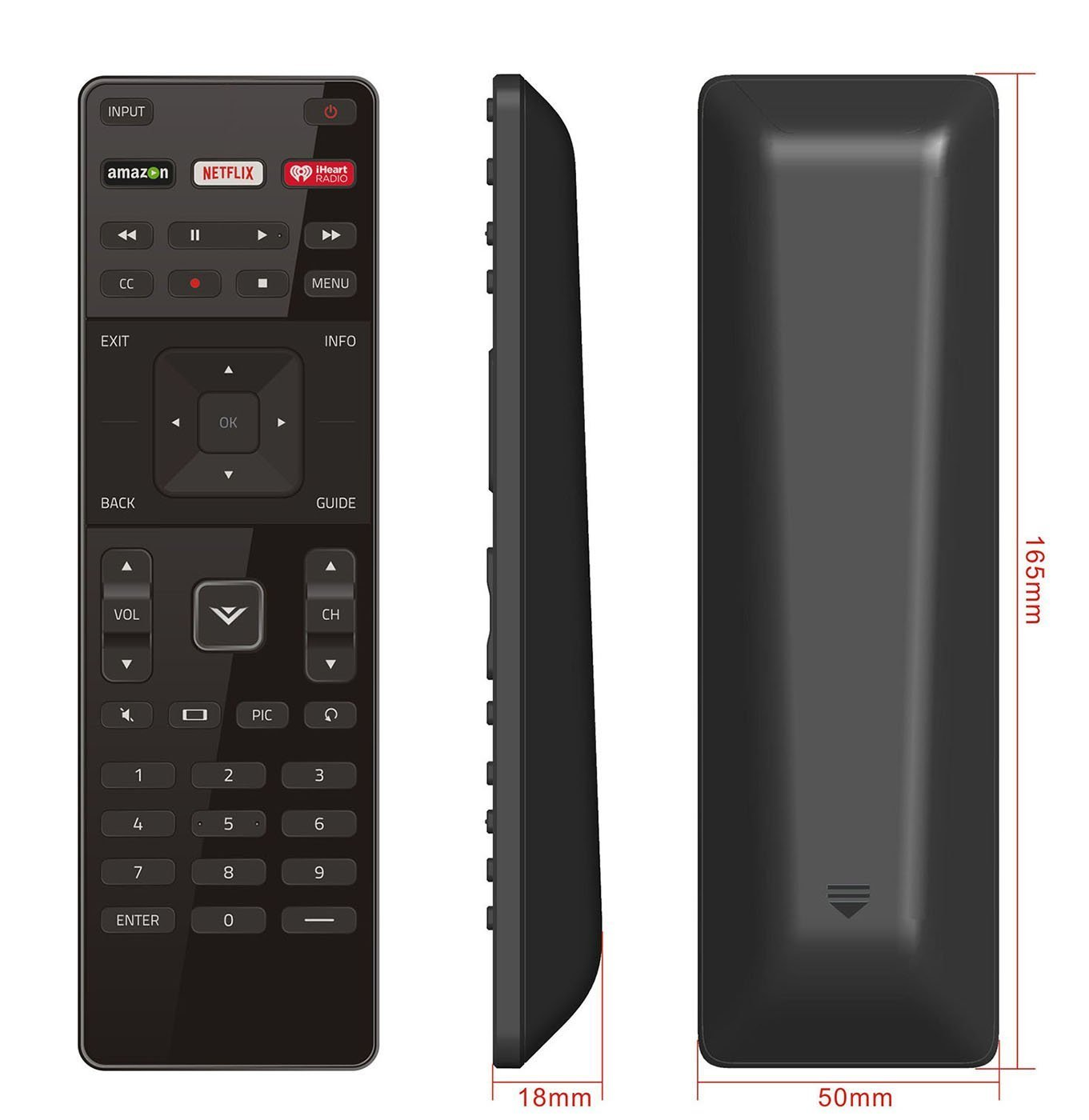 Smartby New XRT122 TV Remote for Vizio LCD LED TV D39H-D0 D39HD0 D50U-D1 D50UD1 D55U-D1 D55UD1 D58U-D3 D58UD3 D65U-D2 D65UD2 E32-C1 E32C1 E32H-C1 E32HC1 E40-C2 E40C2 E40X-C2