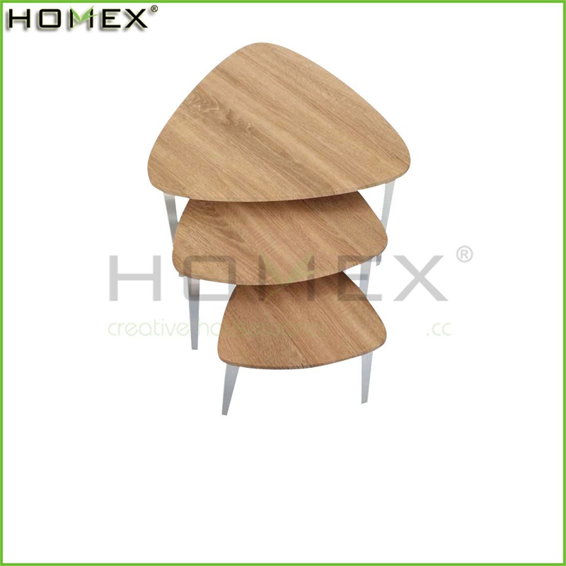 3 Piece Wooden Nesting Table with Metal Leg/Modern Side Nesting Table Set/Homex_FSC/BSCI Factory