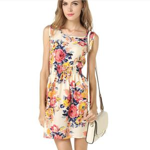 2017 New Ladies Fashion Floral Printed Women dress Chiffon Dresses Casual Summer Dress