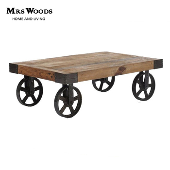 High Quality Vintage Wheeled Cart Reclaimed Wood Rustic Industrial Trolley Coffee Table