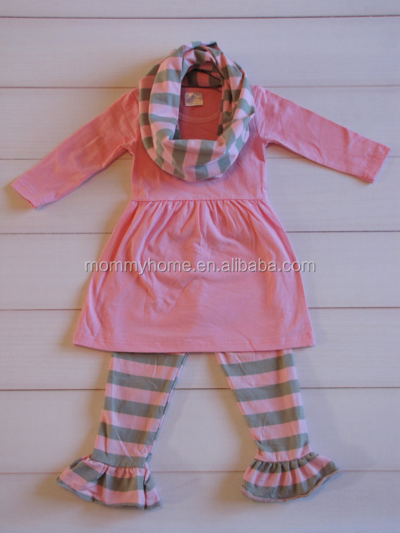 Wholesale baby Thanksgiving boutique clothing, ruffle girls fall pants sets with scarves M5091002