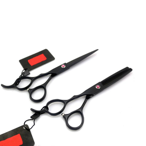 6 Inches Black Hairdressing Scissors Hair Scissors Red Diamond Professional .WB100-518