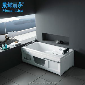Bathroom use rectangle setting type clear acrylic massage bathtub with 1 pillow (M-2006R/L)