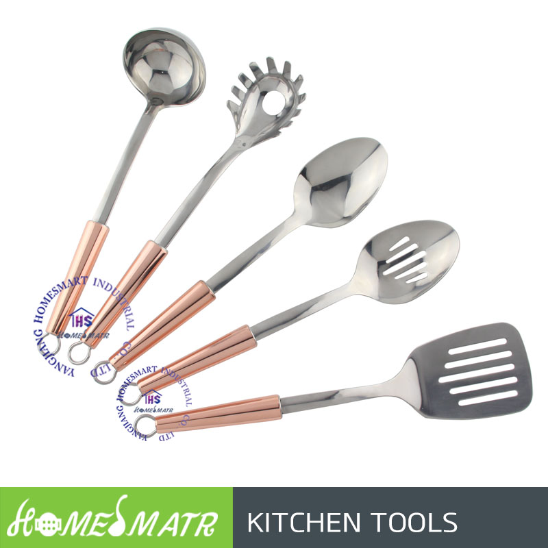 New 5pcs stainless steel kitchen utensil set tools with copper plated handle slotted spoon turner ladle pasta rake