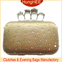 Four Rings Skull Knuckle Noble Gold Satin Hot-fix Crystal Rhinestone Hard Case Clutch Bag