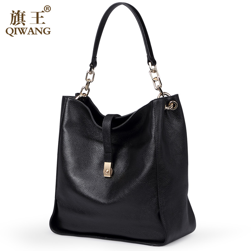 7ff4c2c2abcd2 Qiwang Brand Genuine Leather Women Black Hobo Bag Women Designer Leather  Handbag Real Leather Bucket Bag Chain Purse Amazon Sale-in Shoulder Bags  from ...