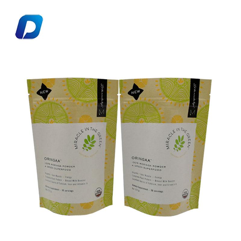 Levante-se ziplock kraft folha de alumínio embalagem bolsa biodegradável saco de embalagem de alimentos