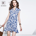 hot sale High quality new fashion women clothing ruffles V neck sleeveless mermaid dress casual sweet sexy dresses for ladies