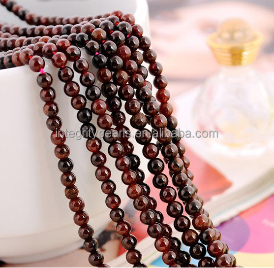 6mm natural red natural garnet loose gemstone beads bracelet making accessory