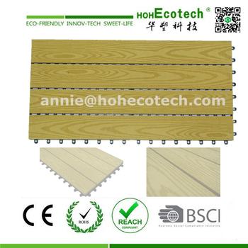 Modern non slip wood grain look composite floor deck tile for Non slip composite decking