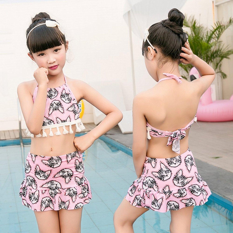 bdad010727580 Get Quotations · BERTERI Two-Piece Cute Swimsuit Bikini Bathing Suits  Swimwear for Baby Girls/Kid/