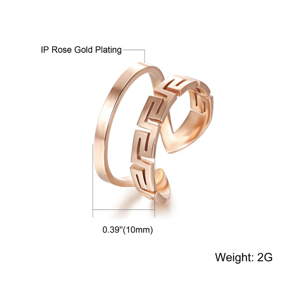 Wholesale Custom Women Jewelry Stainless Steel Rose Gold Open Design Ring