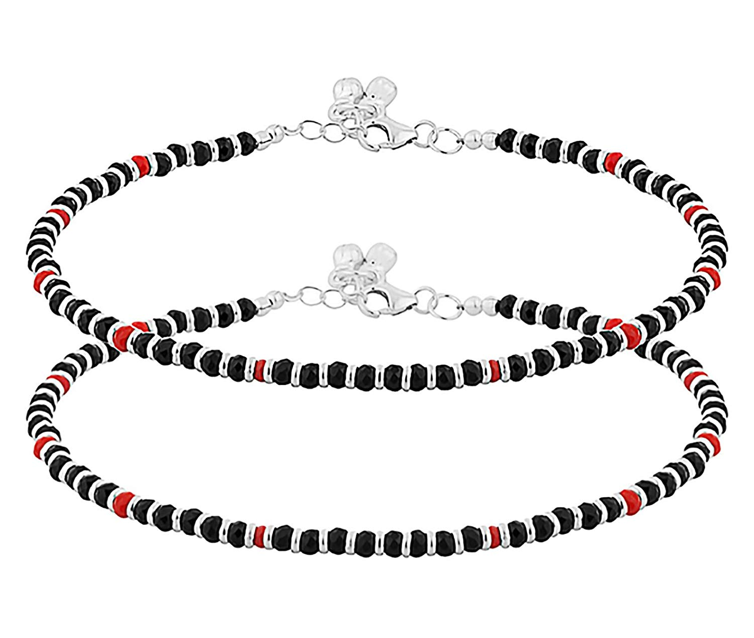 D&D Crafts RED AND BLACK BEADED ANKLETS IN STERLING SILVER For Women, Girls