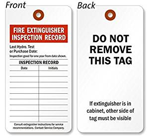 Buy Fire Extinguisher Inspection Tag, Colored 13pt Cardstock