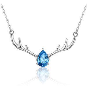 ATHENAA 925 Sterling Silver Jewelry with Blue Zircon Christmas Deer Antler Pendant Necklace
