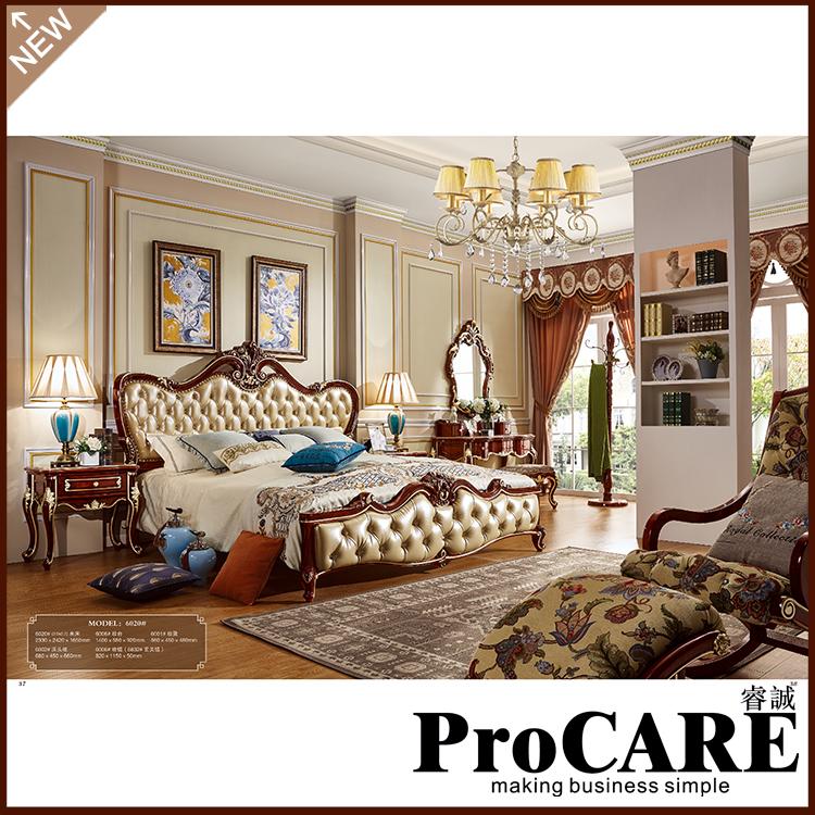 US $1610.0  luxury european style bedroom furniture set Solid carved Wood  panel Canopy Beds Manufacturer Foshan cama slaapkamer meubels-in Bedroom ...