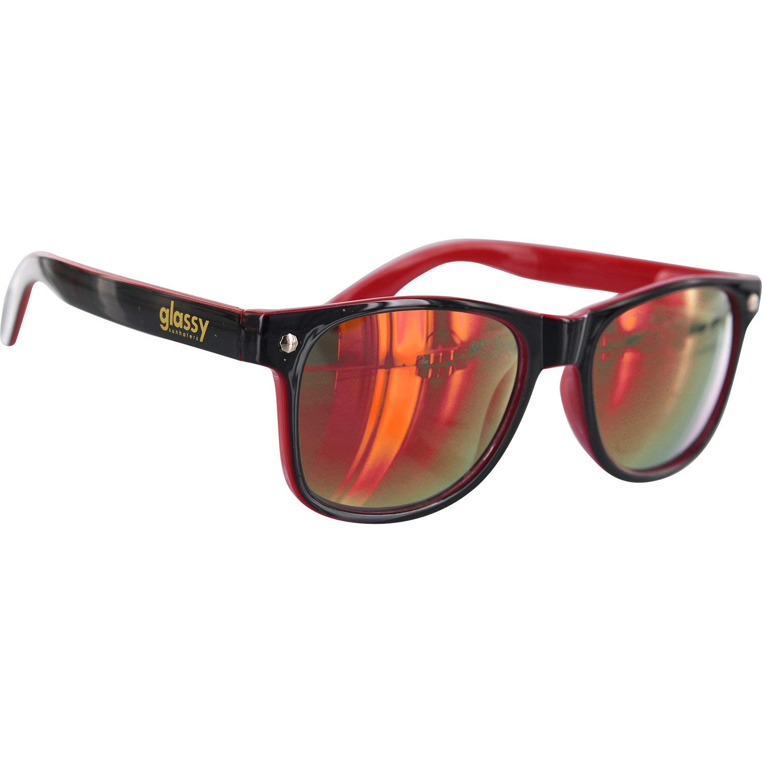a4d44272cc Get Quotations · Glassy Sunhaters Leonard Black   Red Mirror Sunglasses