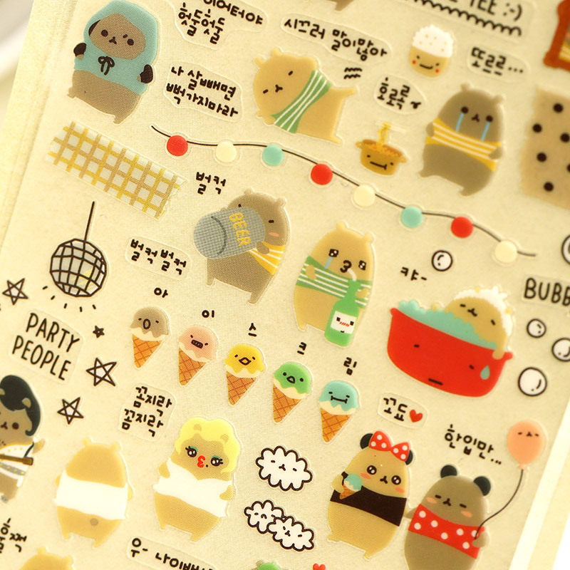 Korean Style Kawaii Sonia PVC Stickers Crying Bear Stikers Cartoon Planner Diary Scrapbook Calendar Decor Photo
