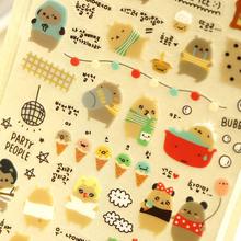 Korean Style Kawaii Sonia PVC Stickers Crying Bear Stikers Cartoon Planner Diary Scrapbook Calendar Decor Photo DIY Stickers