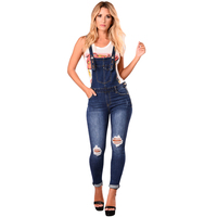 Women cheap high quality Dark Blue Denim Laidback Distressed Overalls Jeans