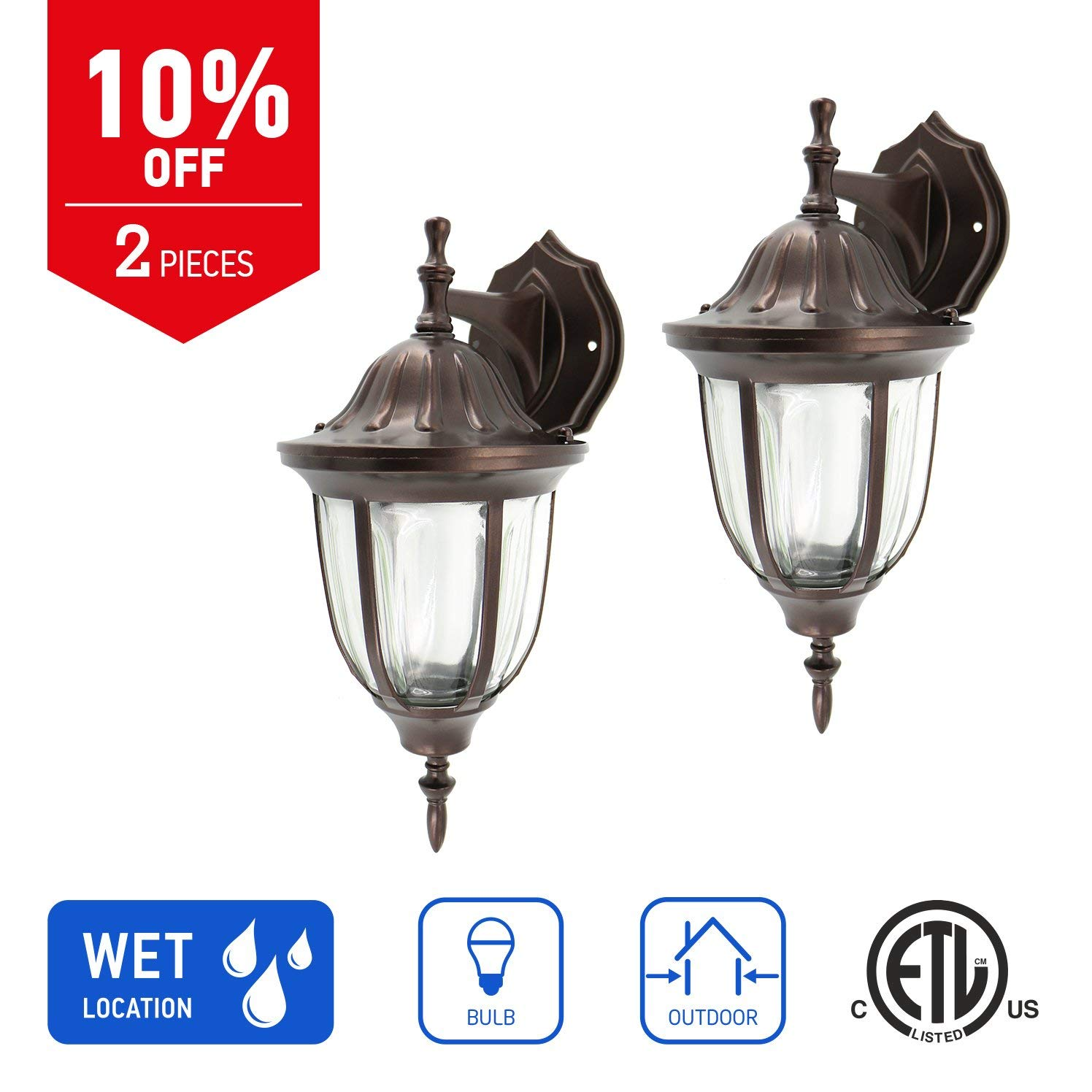IN HOME 1-Light Outdoor Exterior Wall Down Lantern, Traditional Porch Patio Lighting Fixture L03 with One E26 Base, Water-Proof, Bronze Cast Aluminum Housing, Clear Glass Panels, (2 Pack) ETL Listed