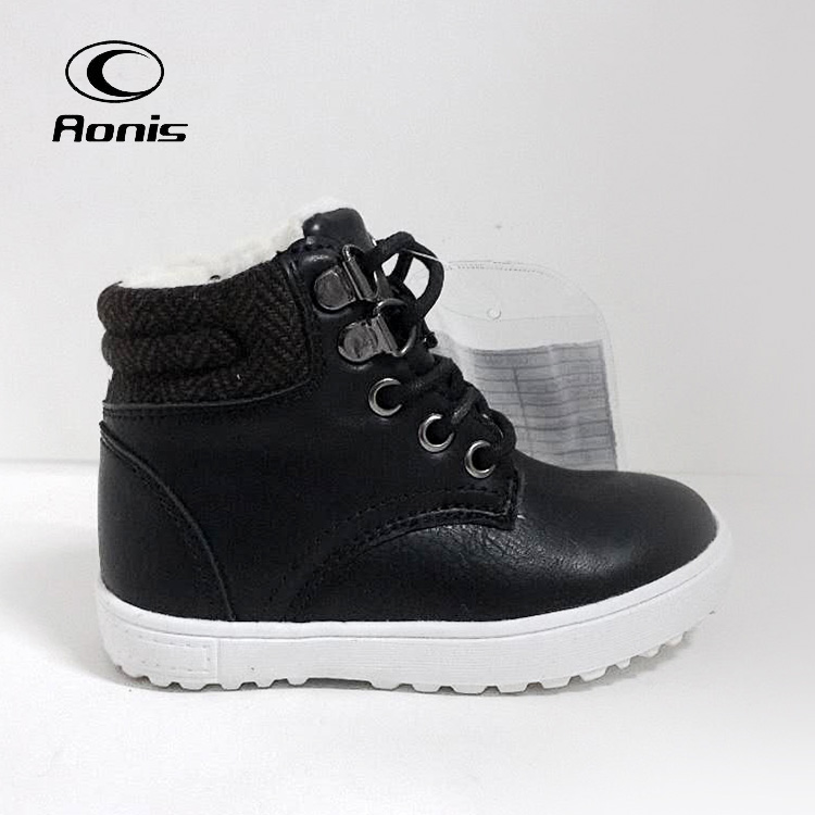 8456 Black Lace-up cool kids ankle boot shoes casual boots for children