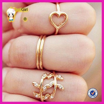 Mini gold fingers knuckles ring heart and leaves design for la s