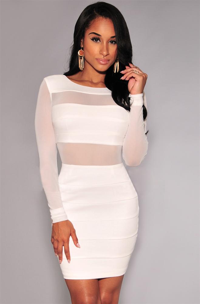 e9e14ec3b77 New XS XXL Sexy Bandage Dress New Winter Black White Dress Long ...