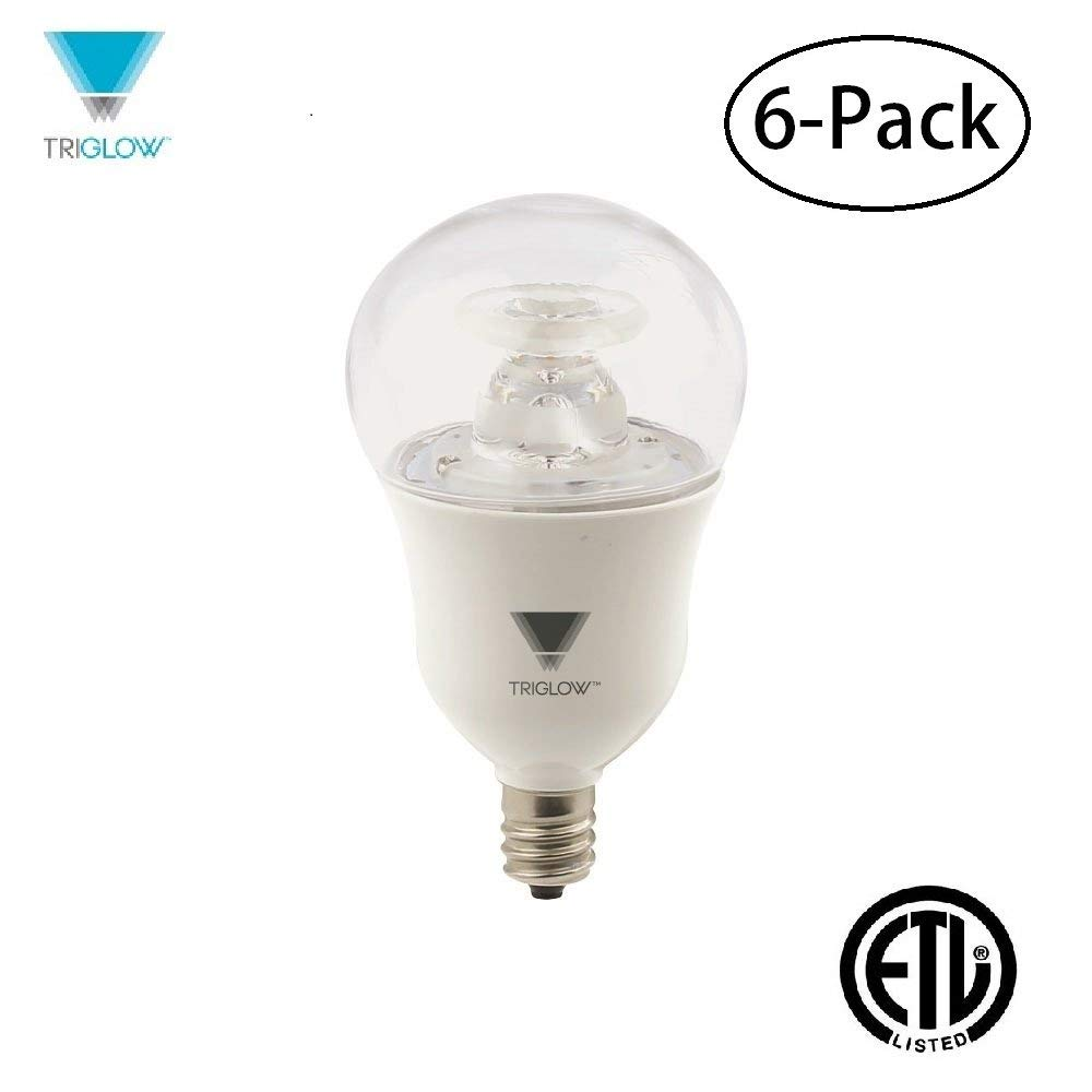 TriGlow T90267-6 (Pack of 6) 7-Watt (40W Equivalent) Dimmable LED A15 Appliance Bulb, 3000K (Soft White), 450 Lumen, E12 Candelabra Base, ETL Listed