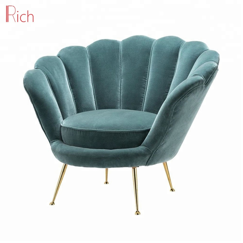 Modern Cafe Gold Metal Legs Single Sofa Fabric Upholstery Armchair Living Room Shell Shaped Chair