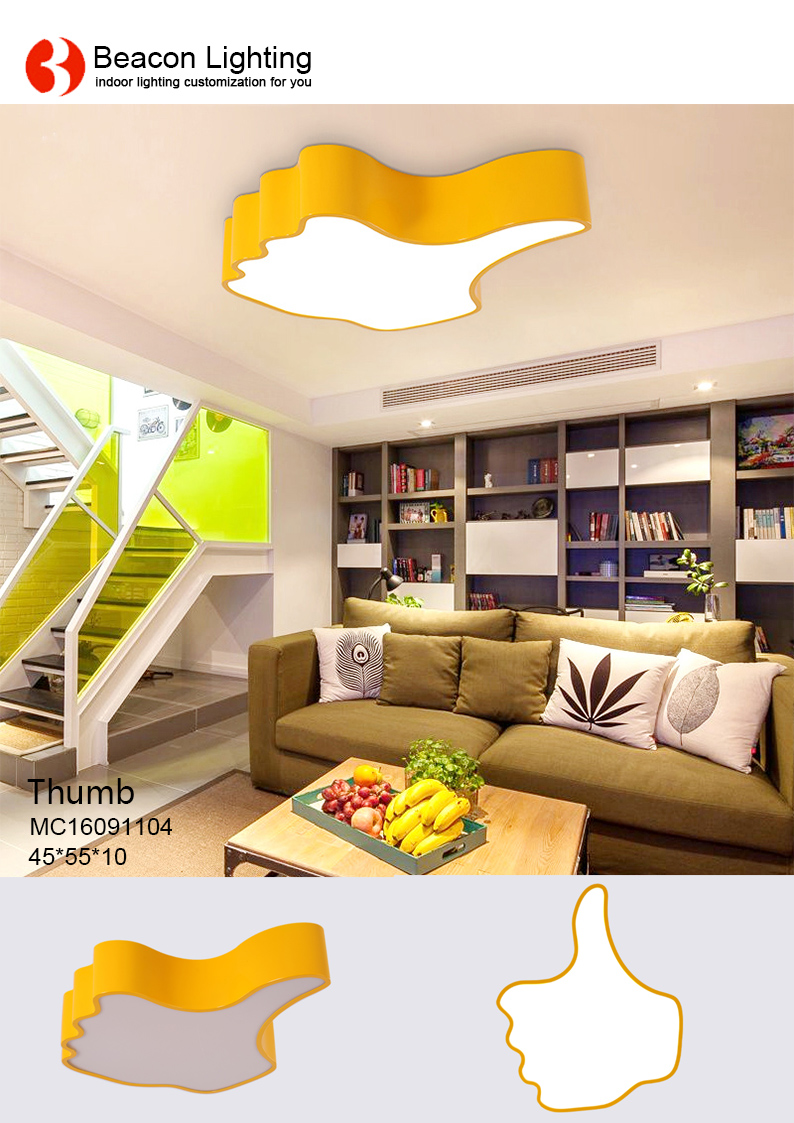 personalized yellow thumb kids led ceiling light lamp for children's bedroom kindergarten child care center infants' s