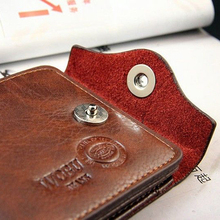 Men's Magnetic Clasp Faux Leather Card Pockets Slim Purse Bifold Wallet  Hot 2015 9G56