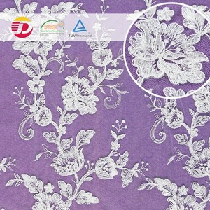 Factory high quality white cheap wedding african guipure 3D embroidery lace fabric for wedding dress