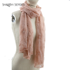 Women polyester flower embroidered pink twill scarf