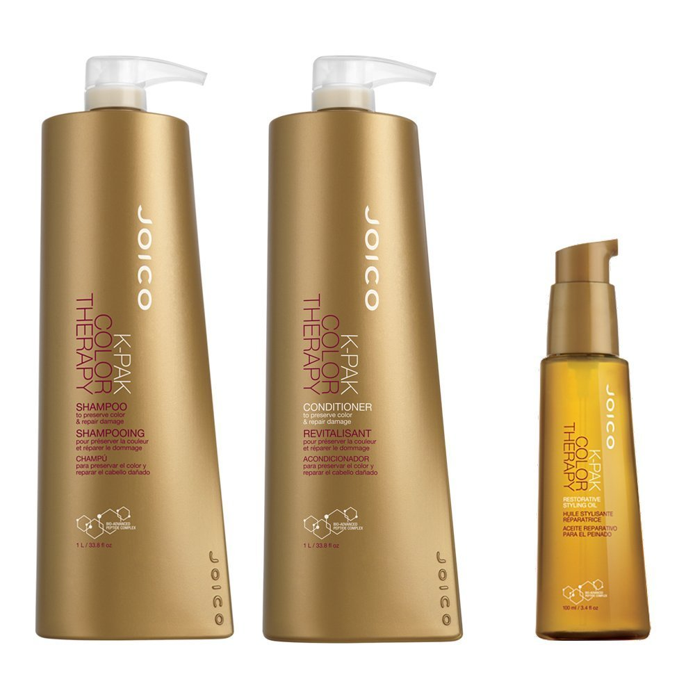 Joico K Pak Color Therapy Shampoo & Conditioner, 33.8 oz Duo & Joico Restorative Oil, 3.4 oz