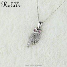 Fashion costume jewelry china owl necklace silver bird custom logo pendant
