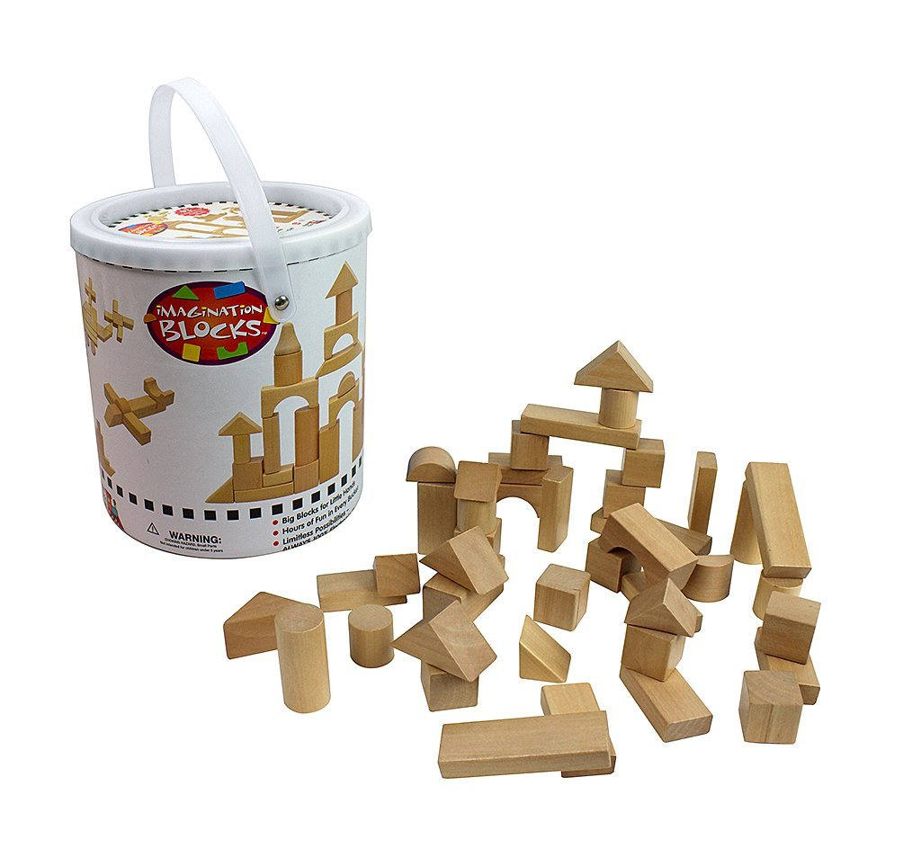 Right Track Toys Wooden Blocks - 42 Pc Wood Buliding Block Set with Carrying Bag and Container (Natural Colored) - 100% Real Wood