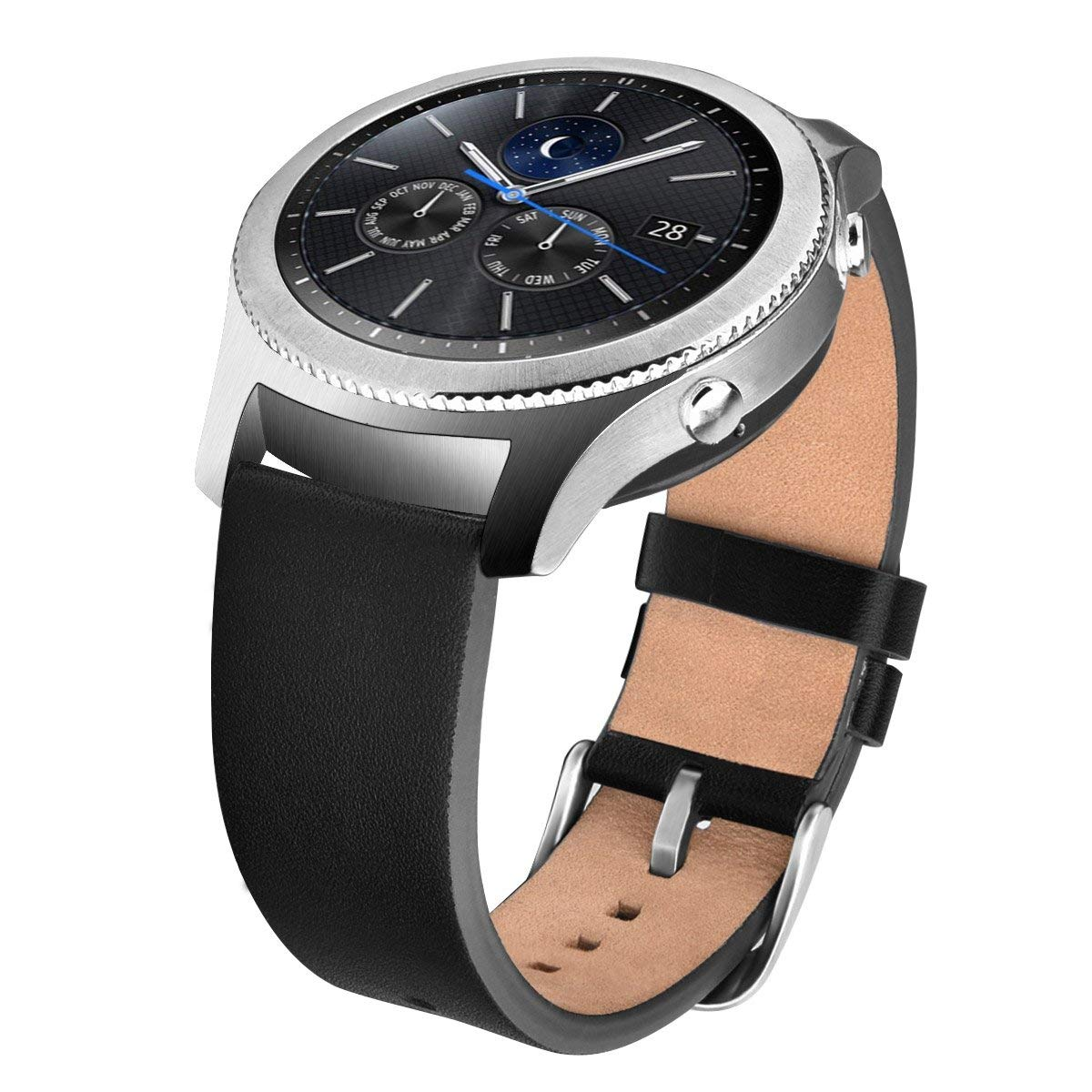 V_moro Compatible Gear S3 Classic/Frontier Bands/Galaxy Watch 46mm Band, 22mm Genuine Leather Replacement Strap for Samsung Galaxy Watch 46mm R800 & Gear S3 Classic / S3 Frontier Smartwatch Black
