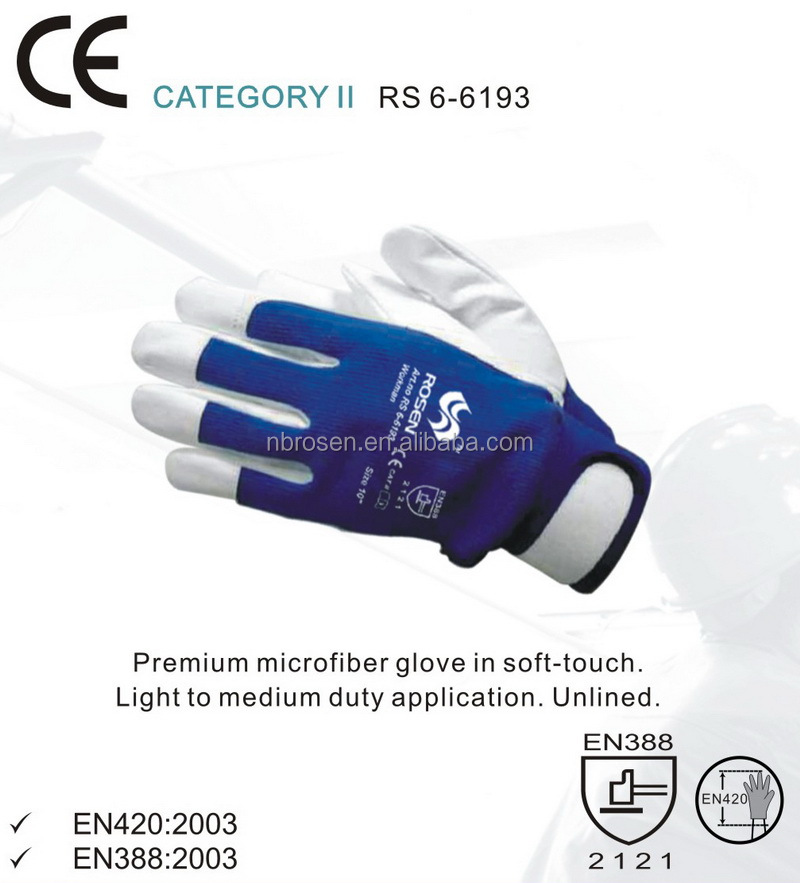 RS SAFETY OEM acceptable blue color velcro closure band top microfiber car driver gloves