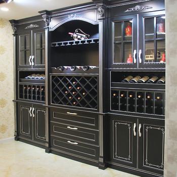 Black Wine Cabinet Solid Wood Kitchen